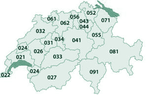 Indicatifs telephoniques des zones regionales en Suisse